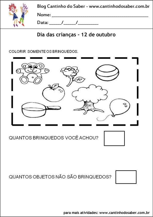 atividades para o dia das crianças colorir brinquedos