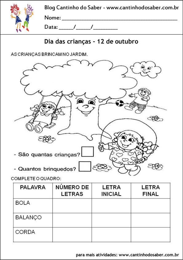 atividades para o dia das crianças matematica