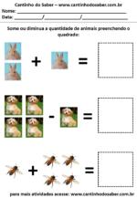 Atividades Educativas com os animais para somar e preencher