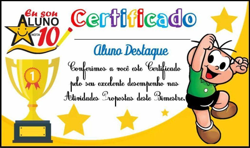 certificado de inventivo cebolinha