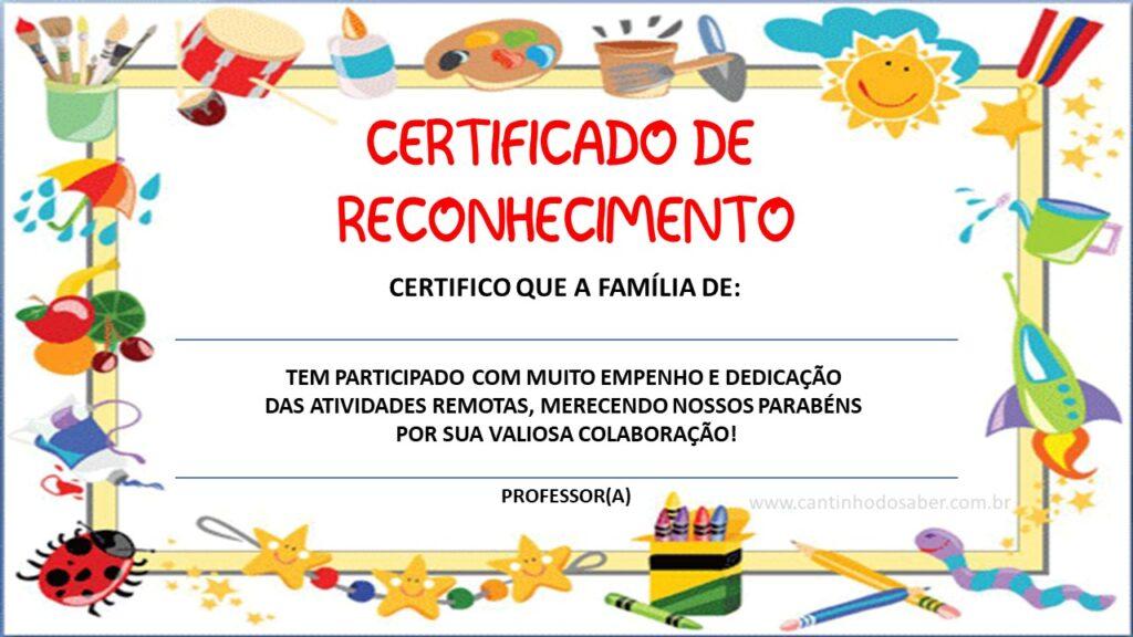 certificado para educação infantil