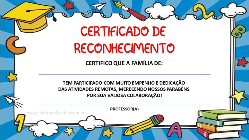 certificado para educação infantil e ensino fundamental
