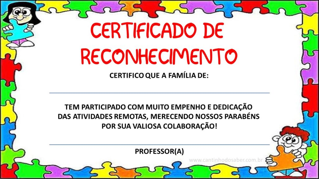 certificado para educação remota