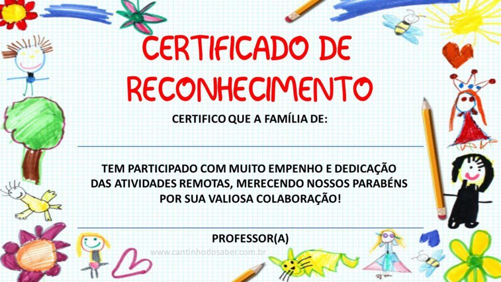 certificado para educação remota editável