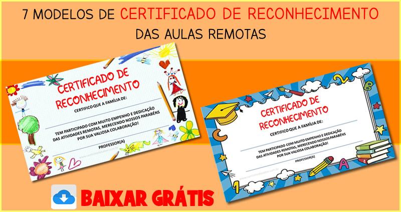 modelo de certificado para aulas remotas