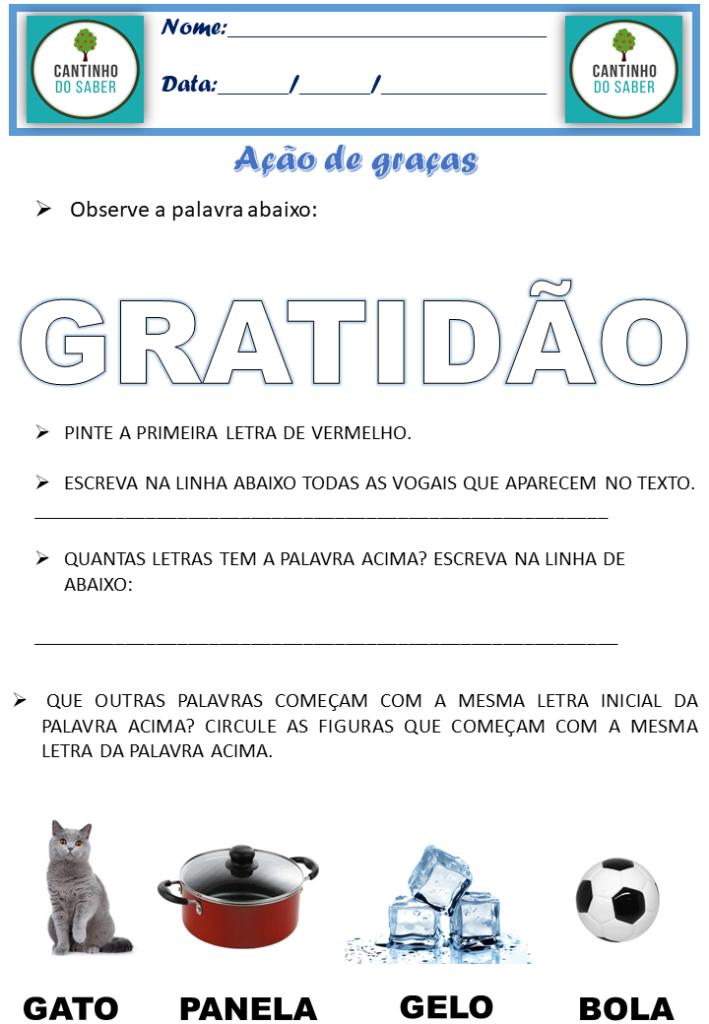 atividades para trabalhar a ação de graças e a gratidão