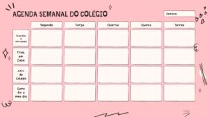 calendário para acompanhamento das aulas online - rosa