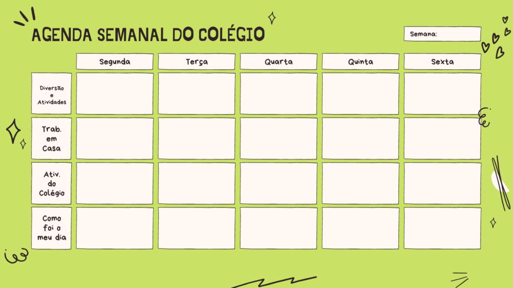 calendário para acompanhamento das aulas online - verde