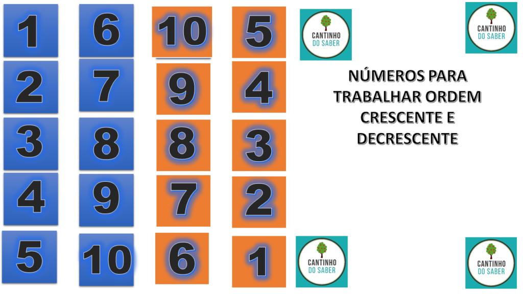 modelo para atividade de matemática ordenar numeros