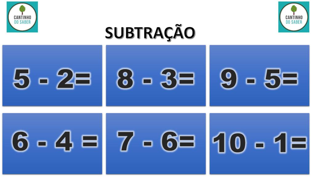 modelo para atividade de matemática subtracao