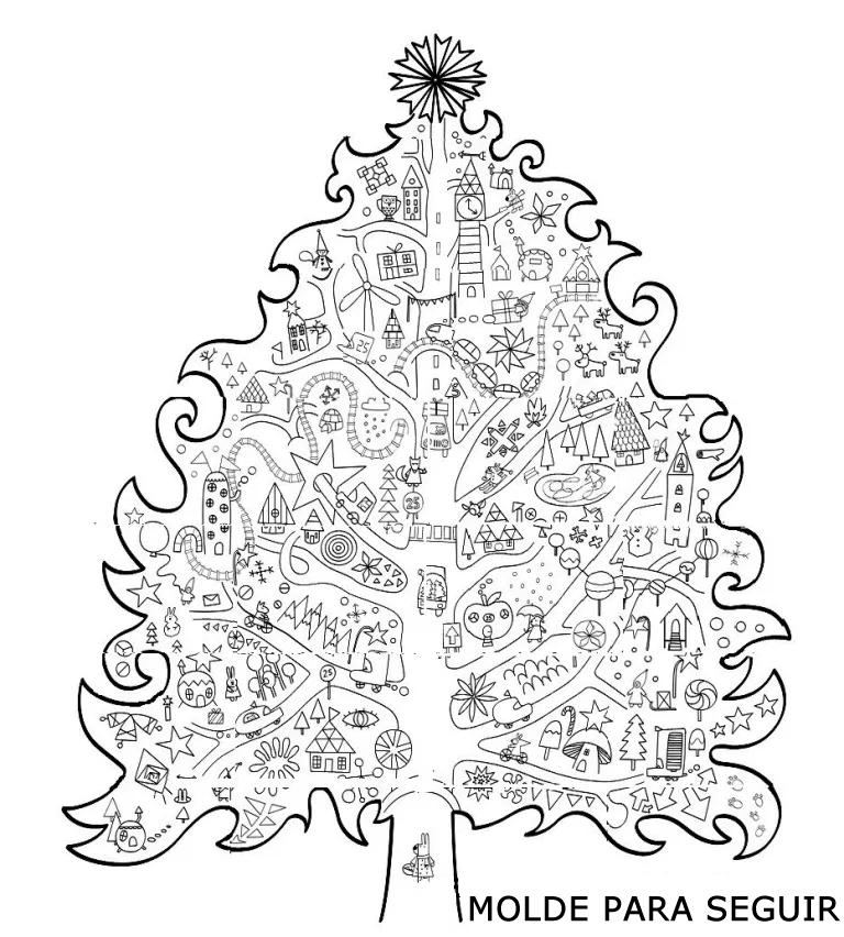 Molde Árvore de Natal grande para imprimir