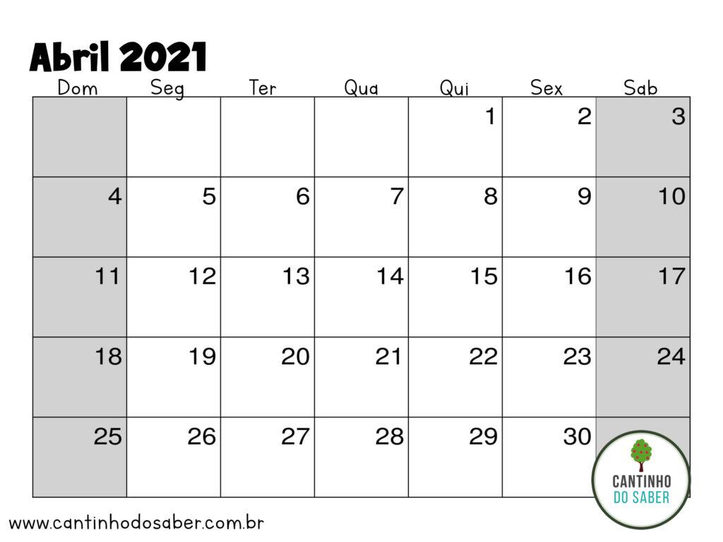 calendario de abril 2021