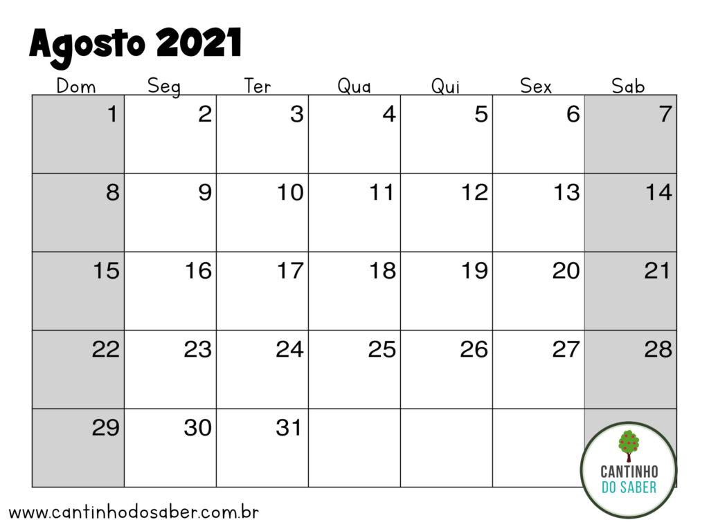 calendario de agosto 2021