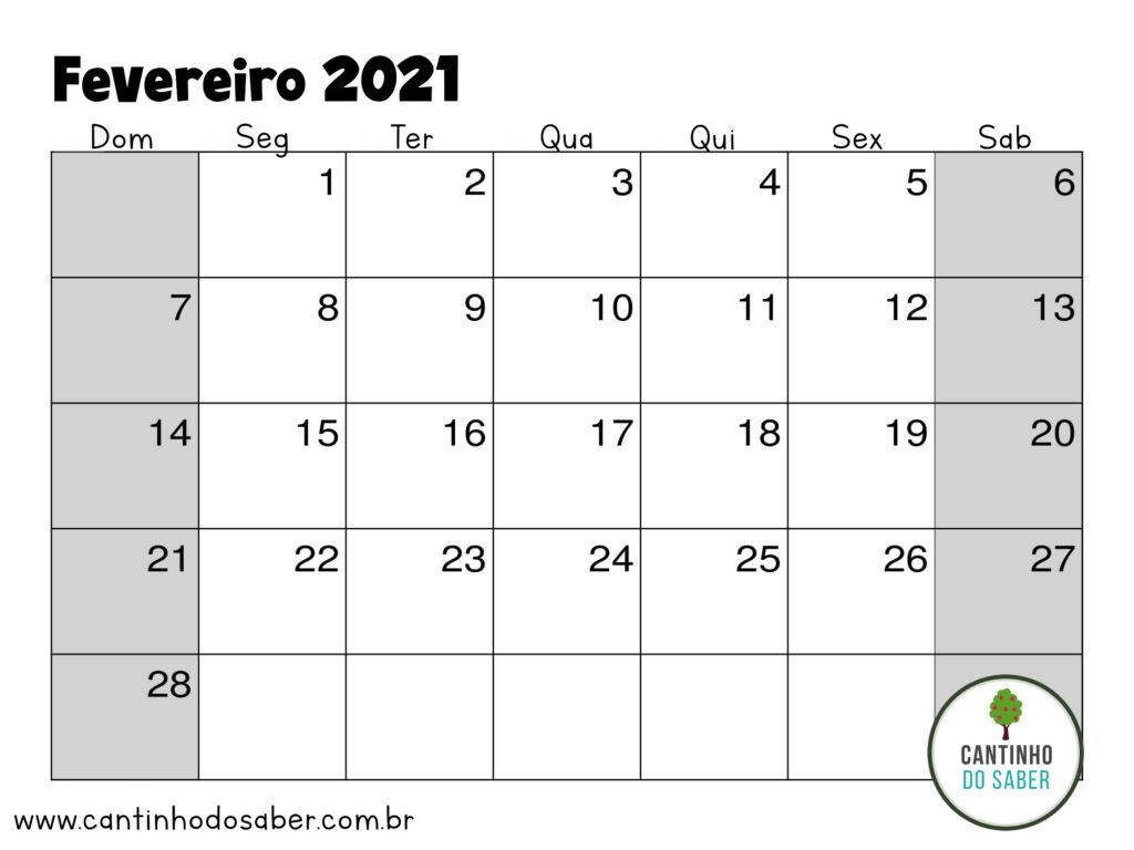 calendario de fevereiro 2021