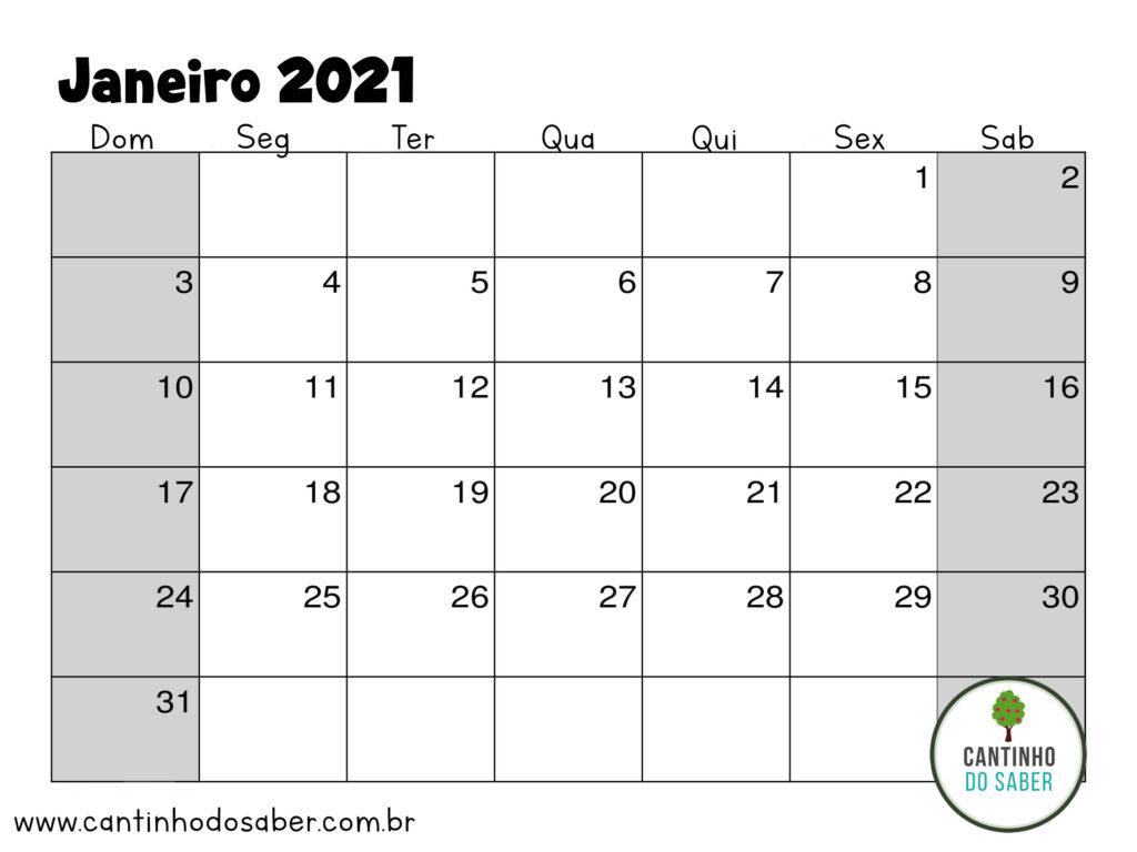 calendario de janeiro 2021