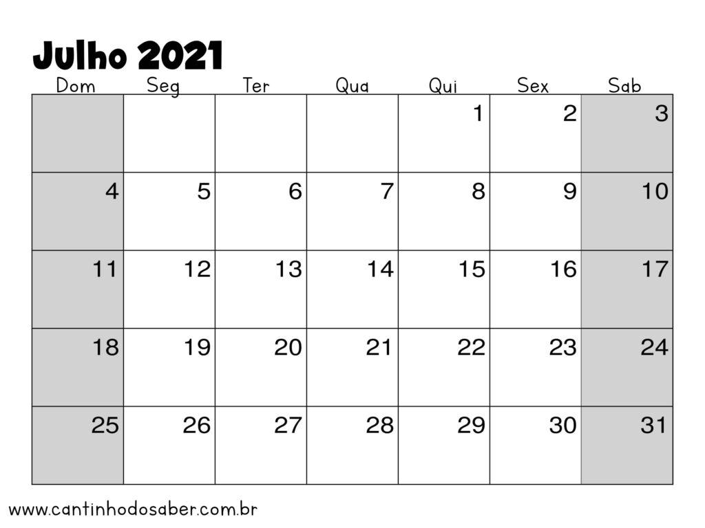 calendario de julho 2021
