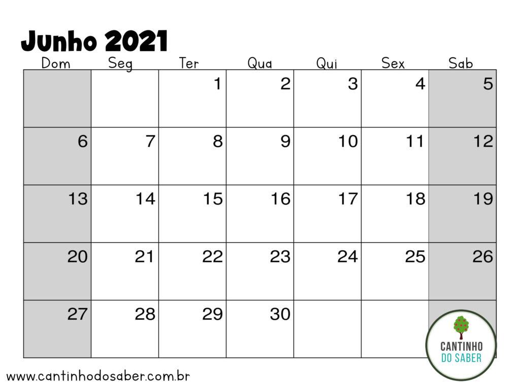 calendario de junho 2021