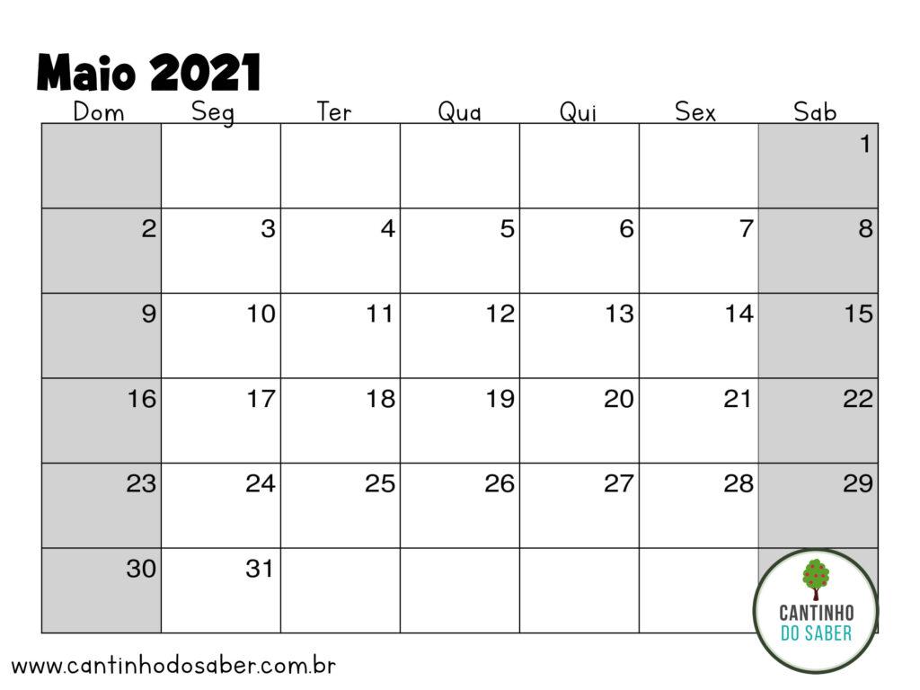 calendario de maio 2021