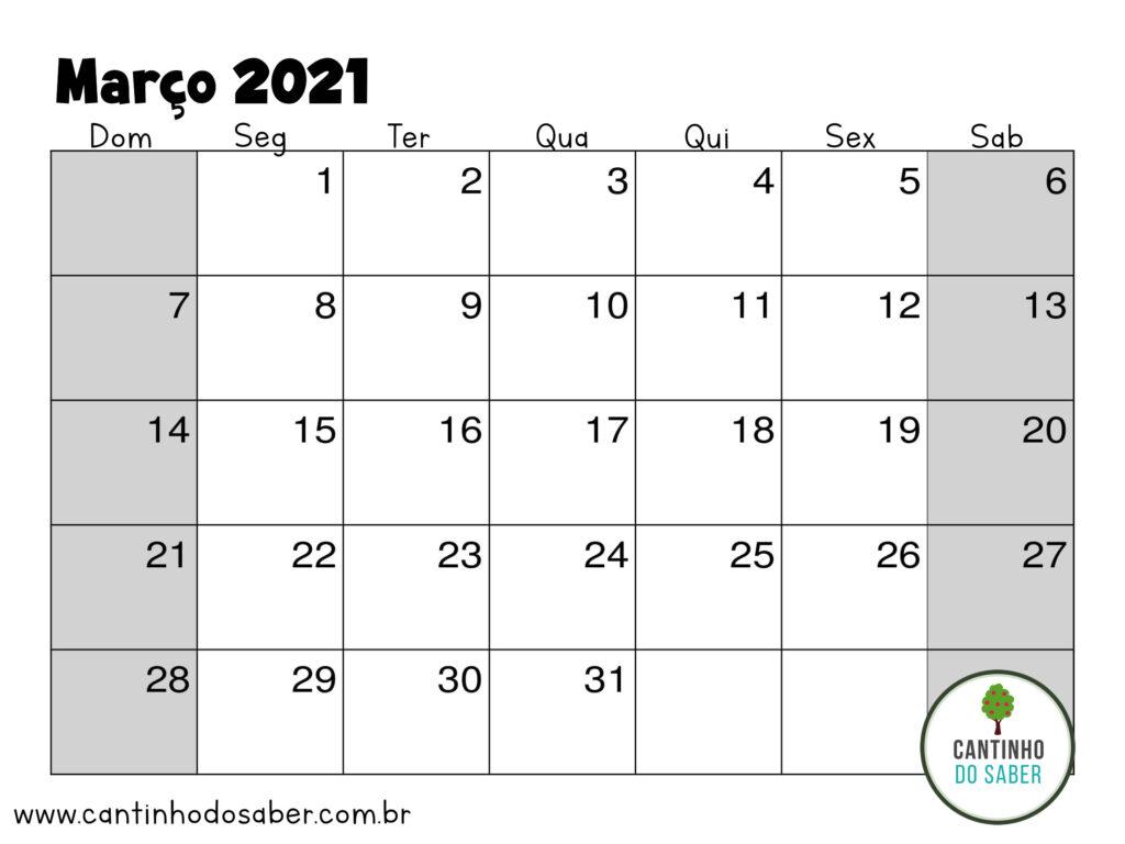 calendario de marco 2021
