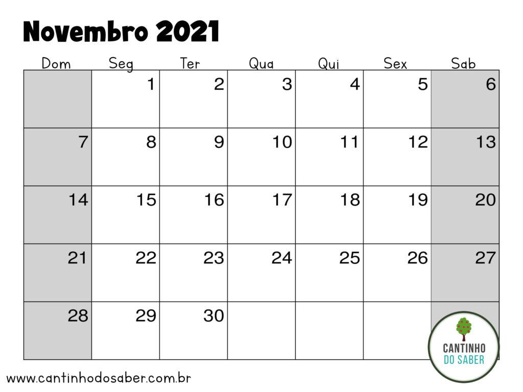 calendario de novembro 2021