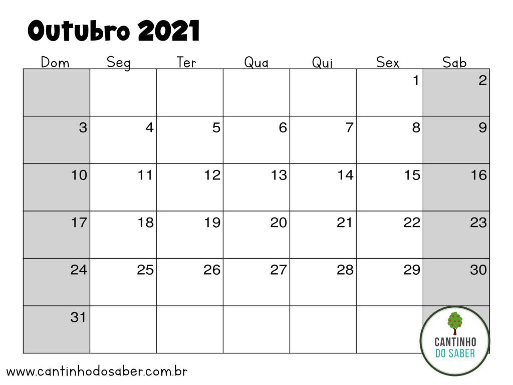 calendario de outubro 2021