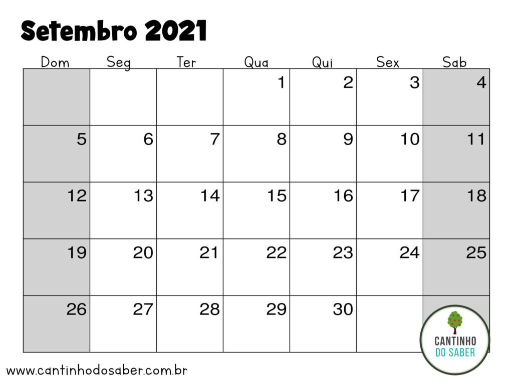 calendario de setembro 2021