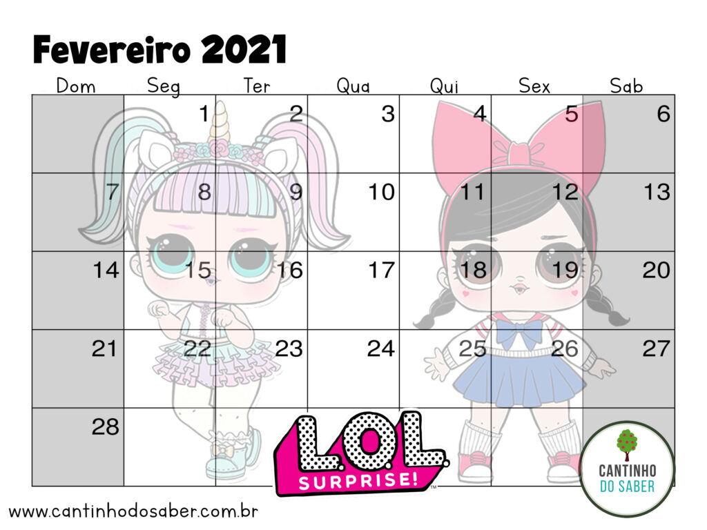 calendario lol surprise fevereiro 2021