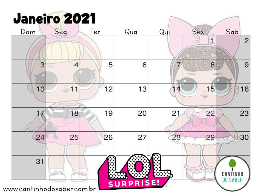 calendario lol surprise janeiro 2021
