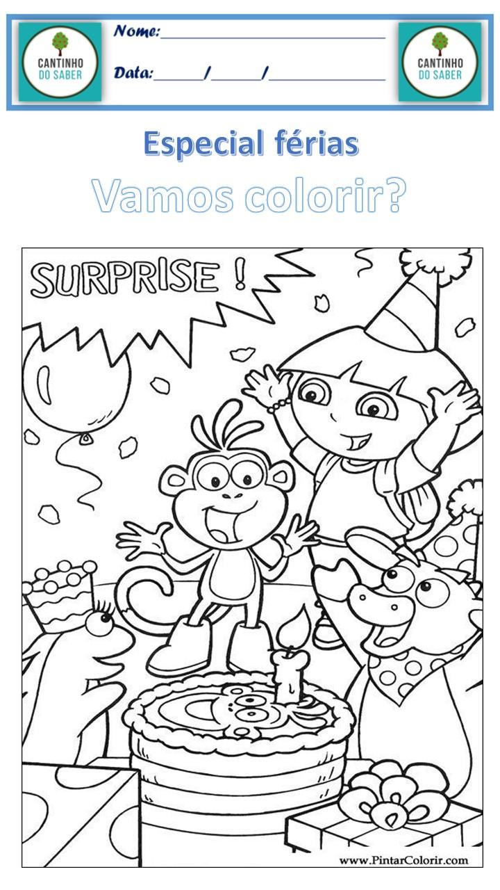 desenho para colorir dora aventureira