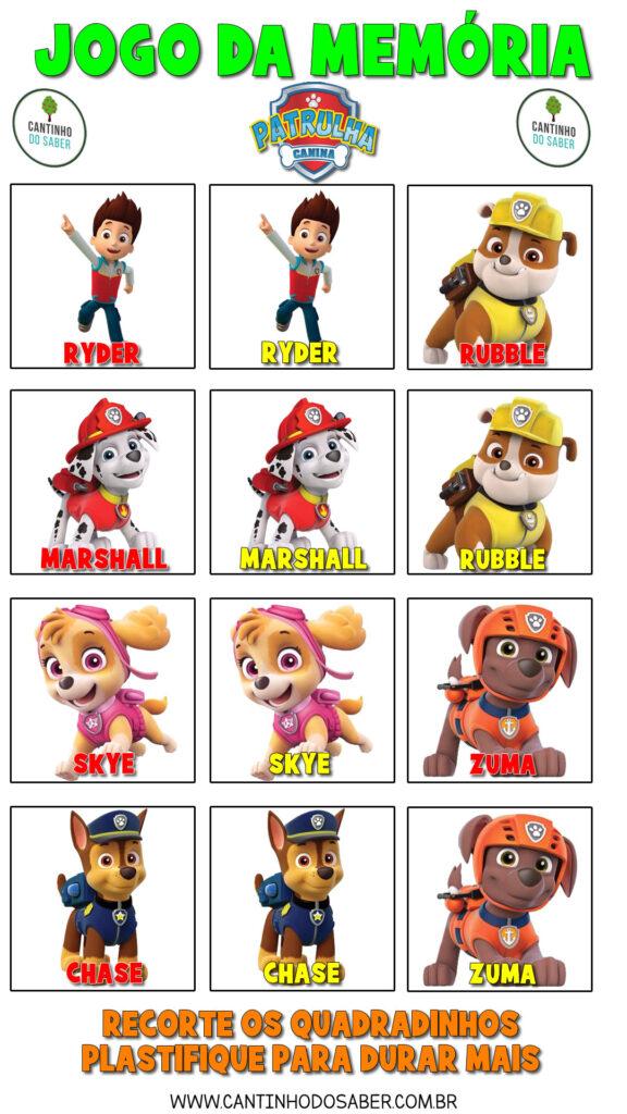 jogo da memória da patrulha canina para imprimir