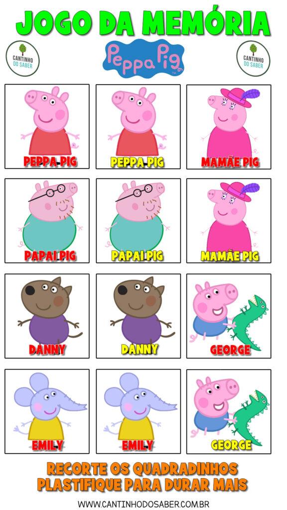 jogo da memória da peppa pig para imprimir