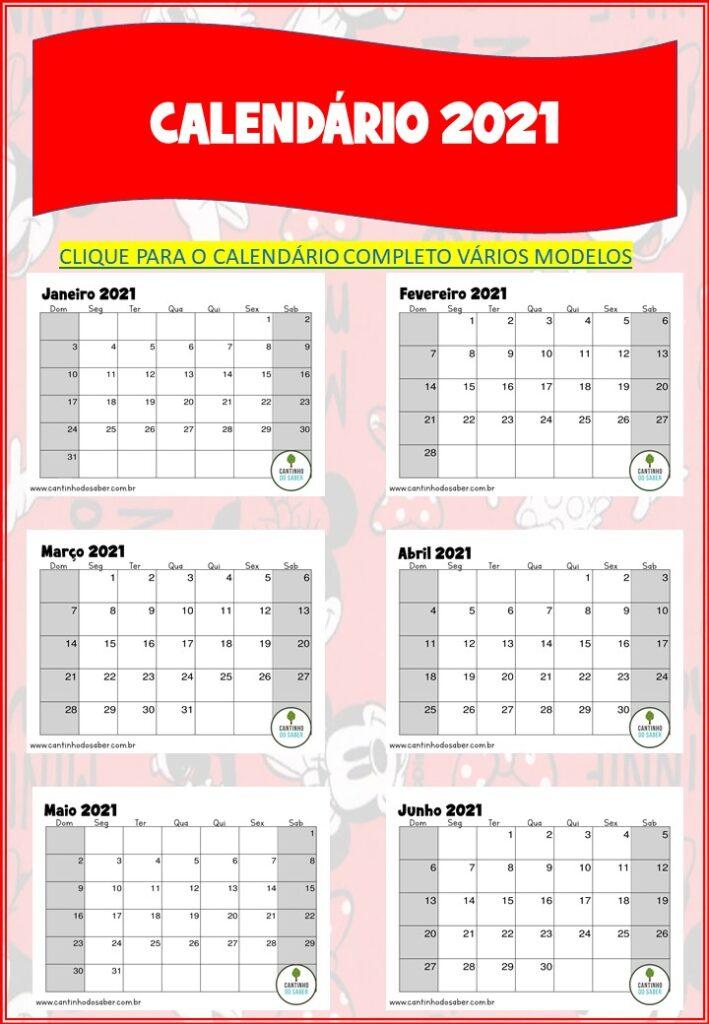 planner 2021 da minnie para download calendário