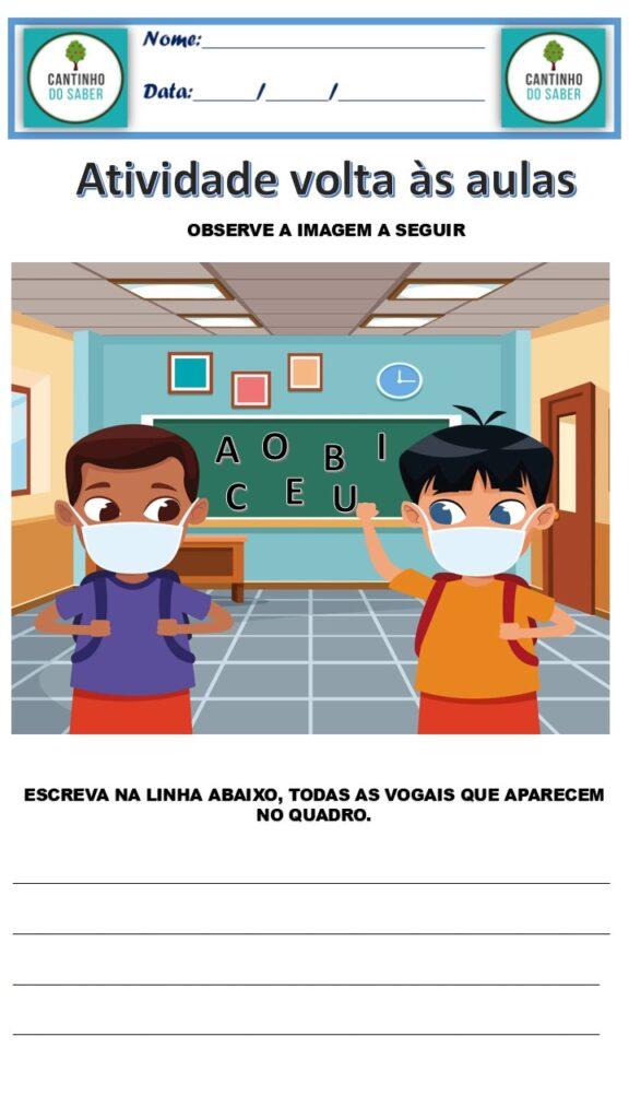 atividades para volta as aulas para 2021 pos pandemia