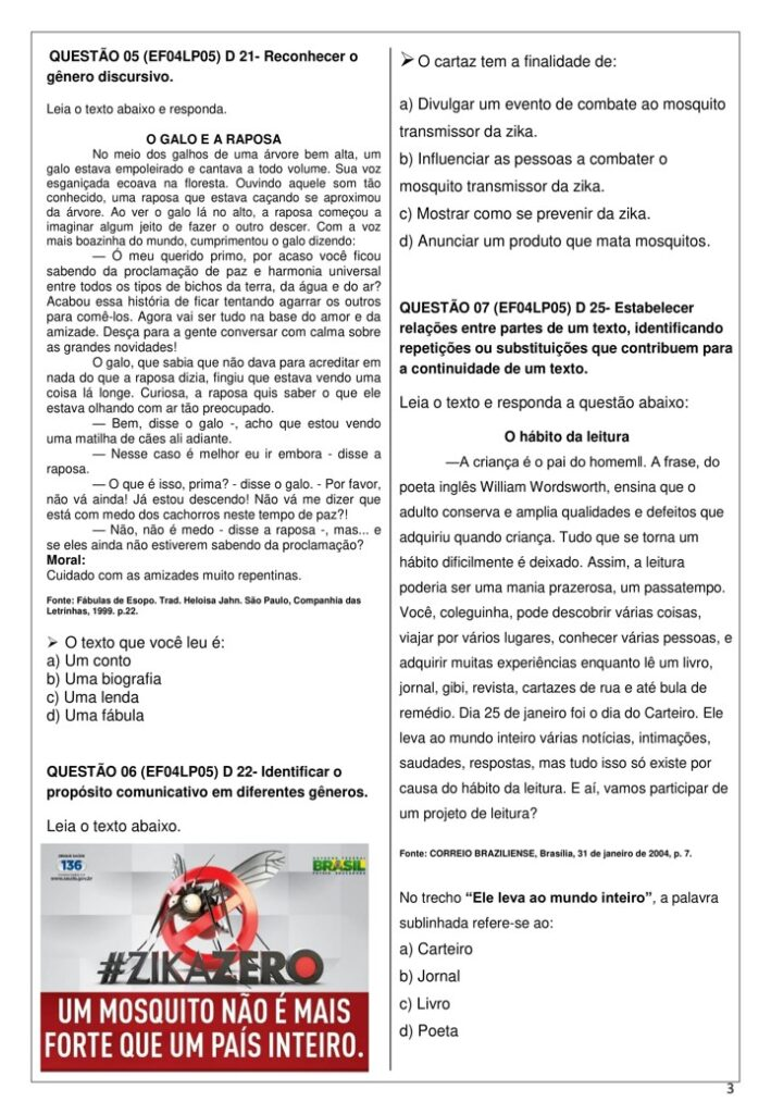 AVALIAÇÃO DE PORTUGUÊS PARA O 4 ANO - A BELA ADORMECIDA - 1 BIMESTRE