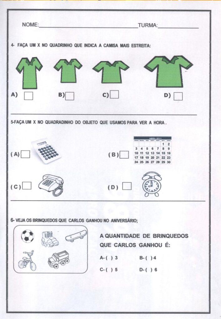 AVALIAÇÃO DIAGNÓSTICA PARA 1 ANO DE MATEMÁTICA