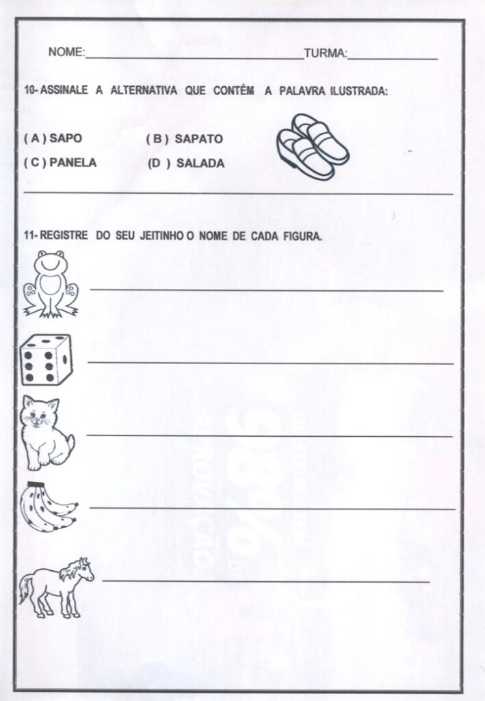 AVALIAÇÃO DIAGNÓSTICA PARA 1 ANO DE PORTUGUÊS