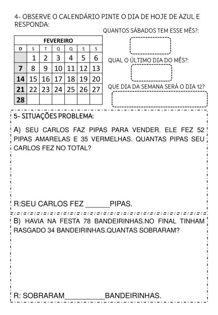 AVALIAÇÃO DIAGNÓSTICA PARA 3 ANO DE MATEMÁTICA