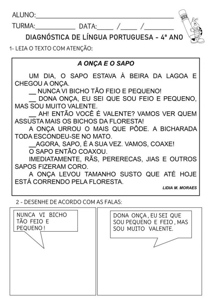 AVALIAÇÃO DIAGNÓSTICA PARA 4 ANO PORTUGUÊS