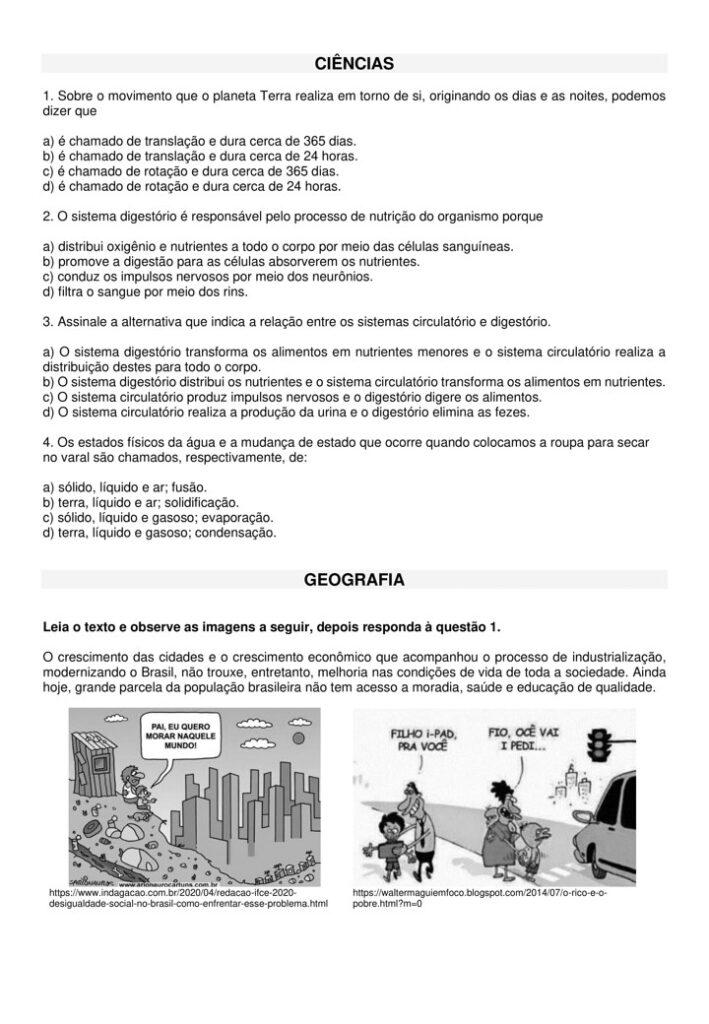 AVALIAÇÃO DIAGNÓSTICA PARA 6 ANO