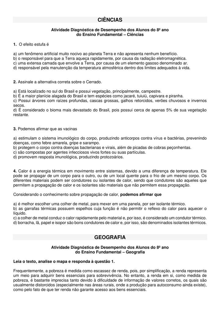 AVALIAÇÃO DIAGNÓSTICA PARA 8 ANO