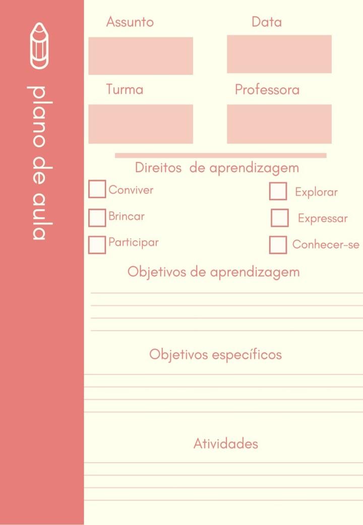 MODELOS DE PLANOS DE AULA EM BRANCO