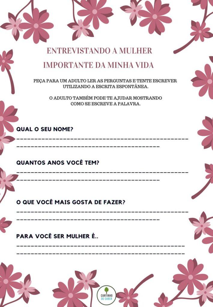 atividades para o dia internacional da mulher