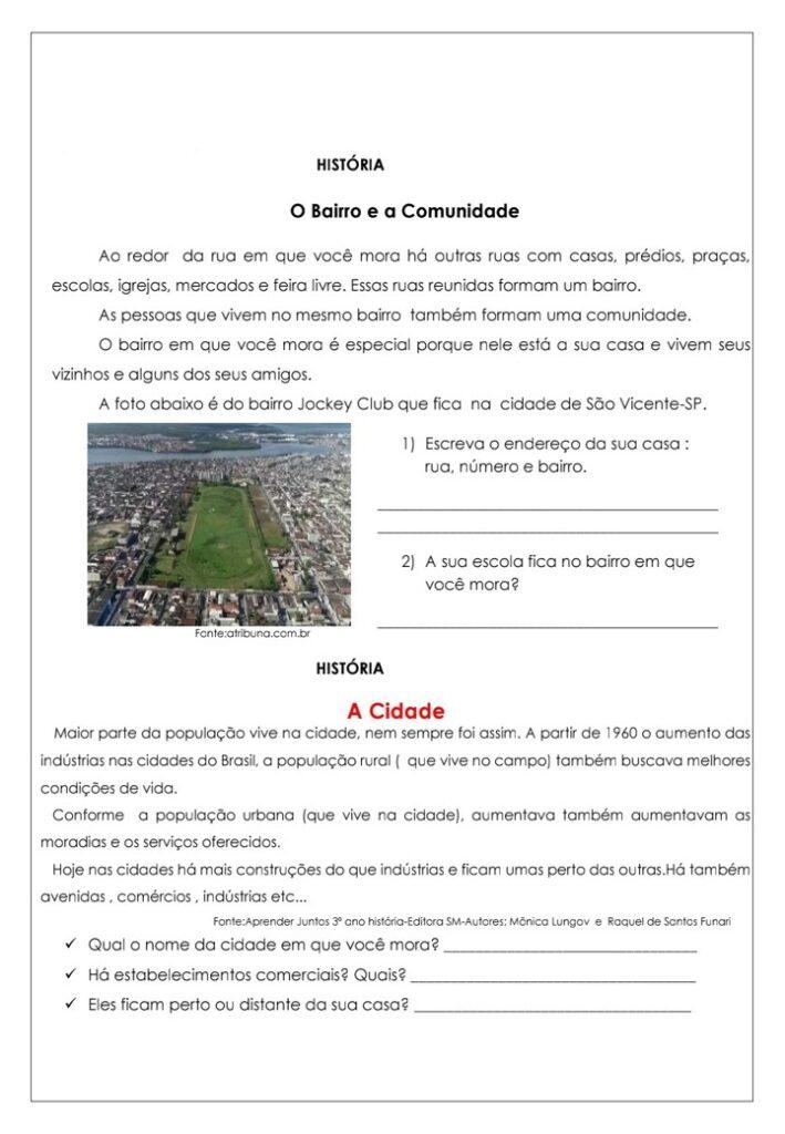 APOSTILA DE ATIVIDADES DE HISTÓRIA PARA O 3 ANO
