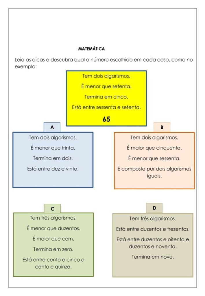 APOSTILA DE ATIVIDADES DE MATEMÁTICA PARA O 3 ANO