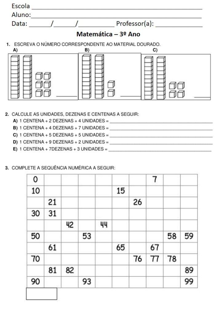 AVALIAÇÃO DE MATEMÁTICA PARA O 3 ANO - 1 BIMESTRE