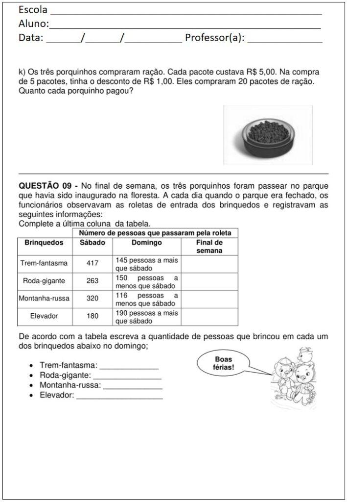 AVALIAÇÃO DE MATEMÁTICA PARA O 3 ANO - 3 BIMESTRE