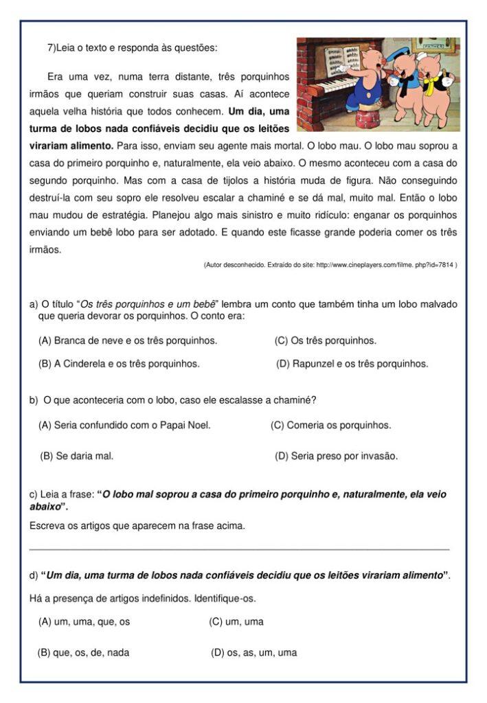 AVALIAÇÃO DE PORTUGUÊS PARA O 3 ANO - 1 BIMESTRE