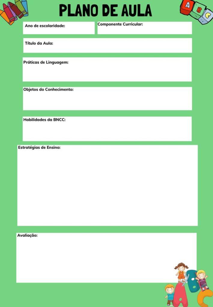 MODELO DE PLANOS DE AULA PARA PROFESSORES EM BRANCO