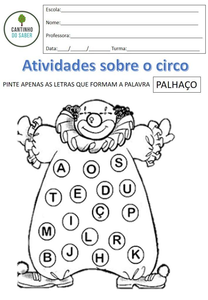atividades para o dia do circo para educação infantil e 1 ano
