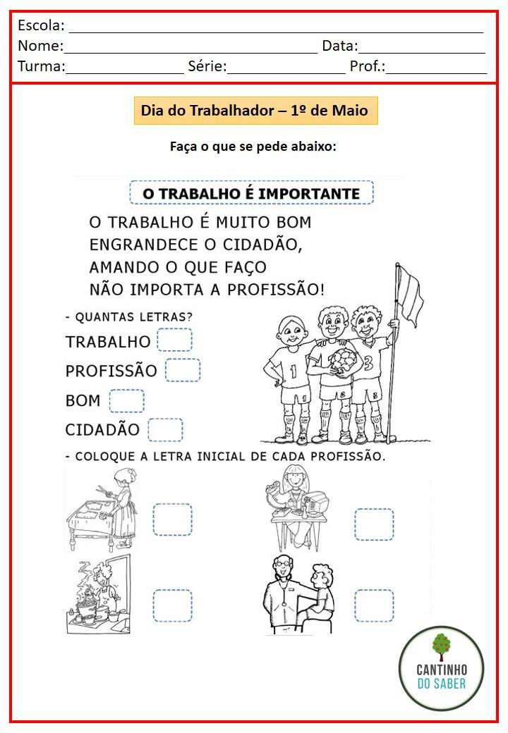 ATIVIDADES PARA O DIA DO TRABALHADOR PARA EDUCAÇÃO INFANTIL E ENSINO FUNDAMENTAL